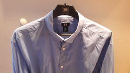 MĘSKA koszula H&M 42 XL błękitna cienka bawełna jak NOWA