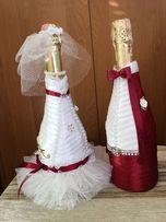 Украшение на бутылку,подарок, свадьба, костюм, наряд, декор,hand made.