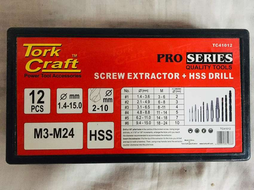 Tork Craft Screw Extractor + HSS Drill 0