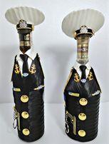 Украшение бутылки,подарок,погон,костюм,мундир,фуражка,наряд,handmade