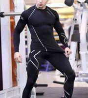 Мужской компрессионный рашгард длинный рукав для спорта, ражгард