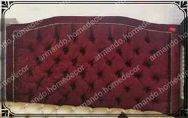 New dark red velvet button headboard