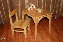 детский стол и стул деревянный