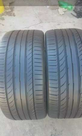 Two normal tyres for Audi 255/35/19 continental 85% treat left
