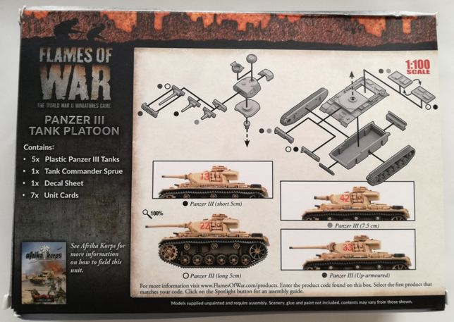 5 niemieckich czołgów Panzer III, Flames of War, plastik, nowe Bielsko-Biała - image 2