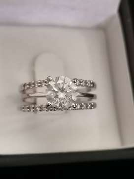 1.23carat White Diamond Solitaire Wedding Set