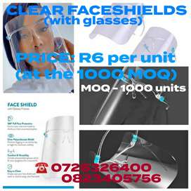 Clear Faceshields (with glasses)