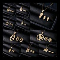 Modne Złote Komplety Biżuterii RÓŻNE WZORY!