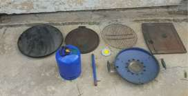 Cadac gas skottle braai with gas tank and cast iron griddles all vgc