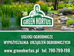 Usł. ogrodnicze pielęgnacja trawnika drzew glebogryzarka separacyjna