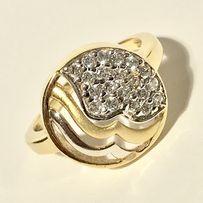 Złoty PIERŚCIONEK 14 piękny EFEKT PIASKU kamienie