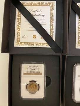 2x 2008 R5 Mandela 90th Birthday MS66 and MS67 Coins