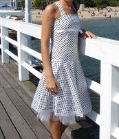 sukienka retro biała w groszki kropeczki czarne S 36 i M 38 dwie szt.