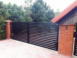 Brama wjazdowa dwuskrzydłowa nowoczesna, ogrodzenie TREBOR - NY 80/24