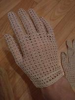Перчатки вязаные ажурные пуховые белые
