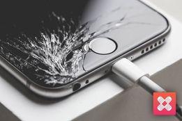 Wymiana pękniętego potłuczonego ekranu lcd baterii serwis Apple iPhone