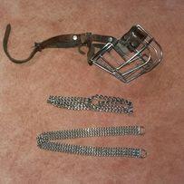 Набор для собаки ошейник миски цепь цепочка удавка намордник метал