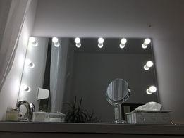 Lustro do makijażu 120x80 led z żarowkami make up toaletka kosmetyczne