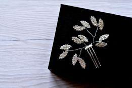 Grzebień ślubny, kryształowa ozdoba do włosów listki cyrkonie stroik