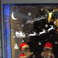 Наклейка на стекло. Сани, Олени Новый Год, Рождество,подарок для детей