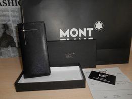 Duży oryginalny czarny PORTFEL MĘSKI Mont Blanc, skóra, Niemcy 38-004