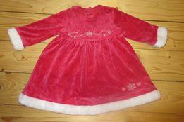 Mikołajki NOWA Sukienka dla dziewczynki Mikołajka 6 12mcy 74 80 Święta