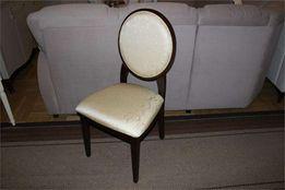 Krzesła krzesło klasyczne JFSC orzech ciemny tkanina ecrue żakard
