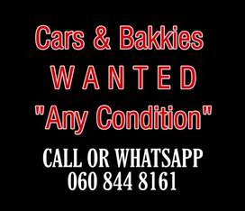 I am looking to BUY accident damaged and non running cars and bakkies.