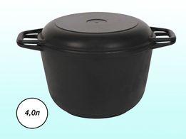 Кастрюля (казан) чугунная 4л (3л, 6л) с крышкой-сковородой ТМ БИОЛ