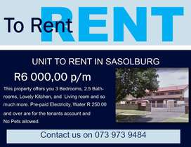 Beautiful 3 bedroom unit to let