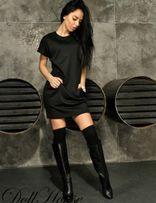 Черное платье с карманами