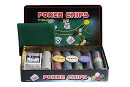 Набор для игры в покер на 300 фишек металлическая коробка с номиналом