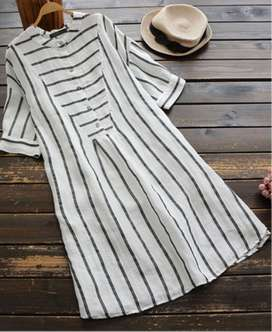 Short Sleeve Button Stripe Casual Shirt Dress (COLOR: WHITE | SIZE: 16