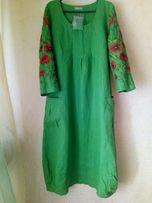 Платье с вышивкой 100% лен