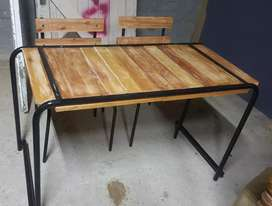 Wooden kiddies table with 2 chairs