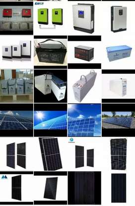 Solar panels  batteries  and inverters