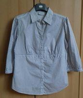 Bluzka biała w granatowe prążki rękaw 3/4 rozm . 42 oryginalny krój