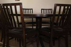 8 seater Imbuia round dining table & 8 Imbuia chairs