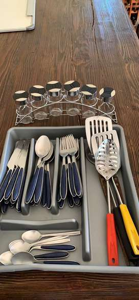 Kitchen cutlery and spice rack