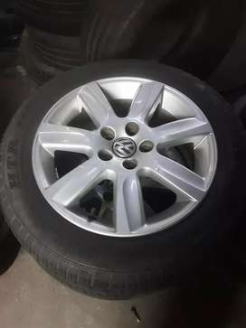 """15"""" set of polo mag rims and tyres"""