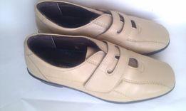 Кожаные туфли Англия бежевые кремовые мокасины как Ecco кожа широкую