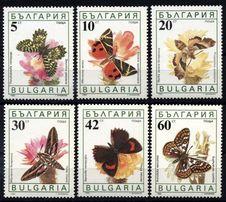 Болгария 1990 - бабочки - MNH XF - полная серия в люксе