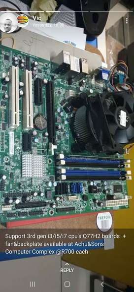 Q77H2 Motherboards, Fan & Backplate 1155-3rd Gen takes i3/i5/i7 CPU`s