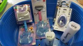 Brushes ,nail scissors and clippers,shampoos for dogs and cats