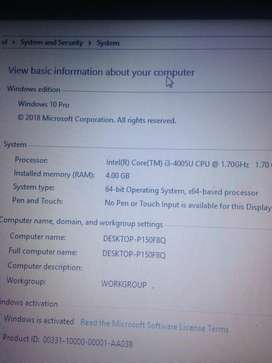 Hp Pavilion model RT3290 intel core i3-4005U
