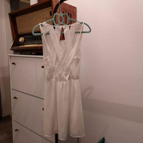 Biała sukienka h&m krzyżakowe plecy szyfonowa letnia wesele szyfon S Dąbrowa Górnicza - image 4