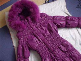Роскошное зимнее пальто KIKO с натуральным мехом (рост 140-150 см)