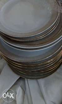 italian dinner plates with gold lining 0