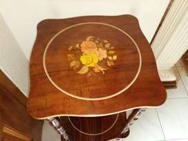 Antique Mahogany veneer marquetry two tier stand with inlaid detail