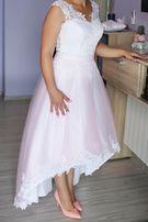 Suknia ślubna różowo-biała 36/38 RYBNIK koronka tiul asymetria